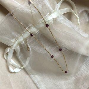 14 Karat Gold Garnet Necklace